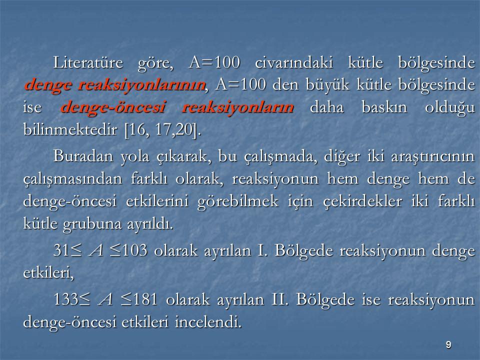 Literatüre göre, A=100 civarındaki kütle bölgesinde denge reaksiyonlarının, A=100 den büyük kütle bölgesinde ise denge-öncesi reaksiyonların daha baskın olduğu bilinmektedir [16, 17,20].